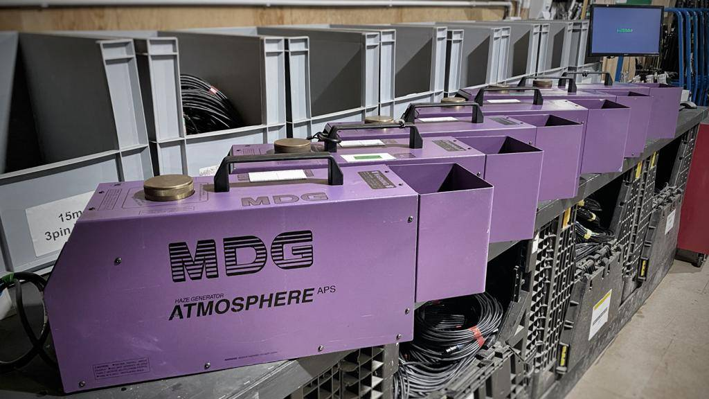 MDG Atmosphere haze machines - still reliable workhorses for Limelite Lighting after 13 years – prepped and ready for their next TV appearance.